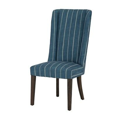 "45"" Tall Dining Chair Solid Rubberwood Frame Dark Finish High Back Striped"