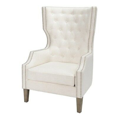 "47"" Tall Occasional Chair Solid Rubber wood Frame Wing back Button Tufted"