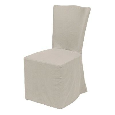 "40"" Tall Dining Chair Solid Birch Wood Pleated Slip Cover Linen Versatile"