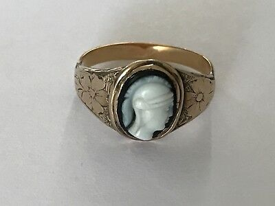 Antique Victorian 9 ct gold hardstone cameo ring Greek god. Size N