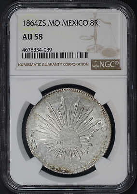 1864ZS MO Mexico Silver 8 Reales NGC AU-58 -173655