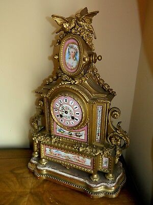 Antique French 19th Century W Oppenheim Gilt & Sevres Porcelain Mantle Clock