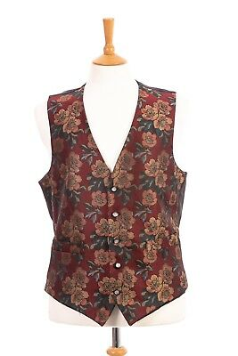 Dunn & Co Size L Red Floral Front Waistcoat Mens