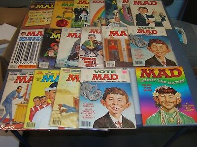 Huge Lot of 30 MAD Magazines From the 1960's, 70's, 80's and 2000's and 1 Book M