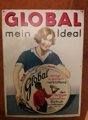 Altes Blechschild Global mein Ideal Reklame
