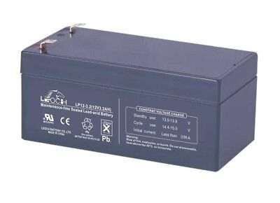 Genuine Leoch LP12-3.2 12V 3.2Ah VRLA AGM Battery w/ F1 T1 Terminals