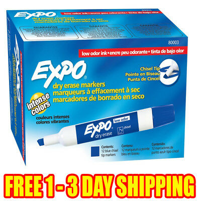 EXPO 80003 Low-Odor Dry Erase Markers, Chisel Tip, Blue, 12-Count FREE SHIPPING