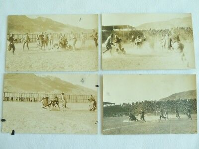 Early Vintage 1900s Football Team Players Photos 4 Post Cards Action Shots