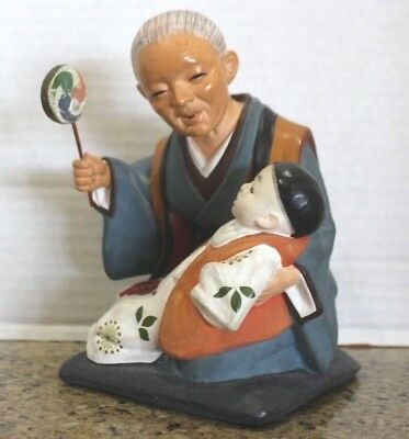 Vintage Hand Painted Hakata Mimasu Doll Clay Statue Japanese Old Man with Baby