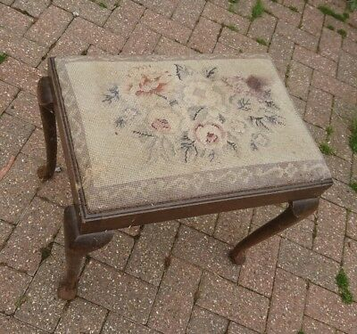 Antique Piano Stool tapestry top possibly Victorian