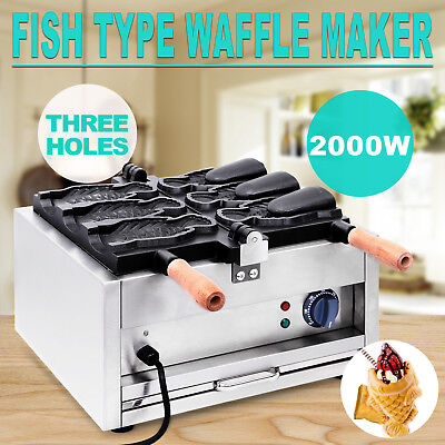 Commerical Taiyaki Fish Waffle Maker Machine Open Mouth Ice Cream Three Holes