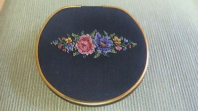 Vintage Petitpoint  w/Gold Trim Powder Mirror Compact Western Germany