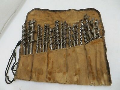 19x Vintage Greenlee Auger Drill Bits / Files USA Made + Wrap Case