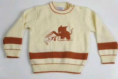 Vintage Infant 12? Months Friemanit Acrylic Sweater Elephant Mouse Pullover Boys