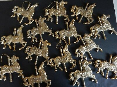 "Gold Glittered Carousel Horses Lot of 15/ 4"" x 4"" Party/ Holiday Decorations"