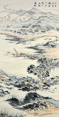 Vintage Chinese Watercolor VILLAGE MOUNTAIN Wall Hanging Scroll Painting