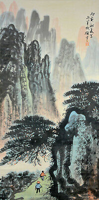 Vintage Chinese Watercolor Wall Hanging Scroll Painting after Li Xiongcai