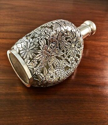 Rare Japanese 950 Sterling Silver Overlay Whiskey Pinch / Dimple Decanter Floral