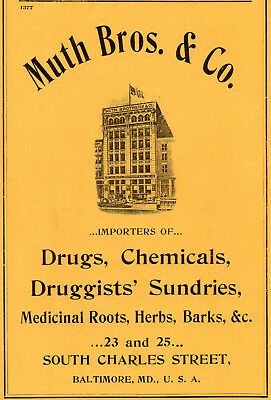 1906 Muth Bros & Co, Baltimore, Maryland Drugs & Chemicals Color Advertisement