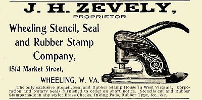 1905 J. H. Zevely Seal & Rubber Stamp Co, Wheeling, West Virginia Advertisement
