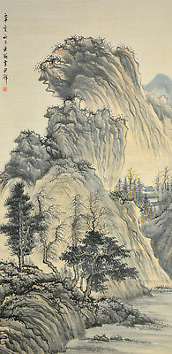 Vintage Chinese Watercolor WINTER MOUNTAINS Wall Hanging Scroll Painting