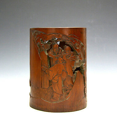 Vintage Chinese Carved 7 Saint Scholar Figures Bamboo Brush Pot