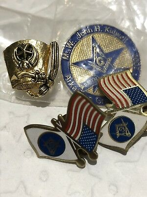 Vtg Free Mason Shriner Hat Lapel Tie Pins~Kidwell~Arkansas~US Flag~Grand Master