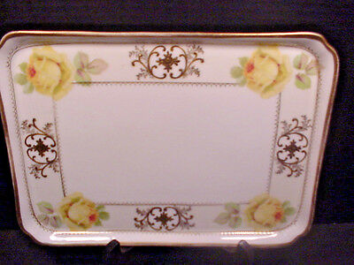 Prussia Porcelain Antique Dresser Vanity Perfume Tray Yellow Roses Gold Trim