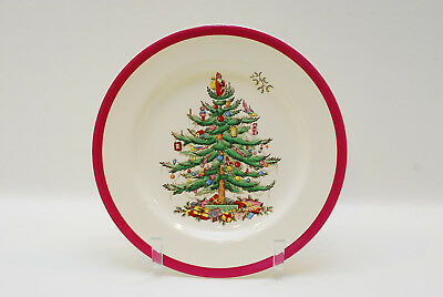 Spode Christmas Tree Red Band Dinner Plate Plates 10 3/8 Inch