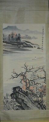 Vintage Chinese Watercolor RIVER LANDSCAPE Wall Hanging Scroll Painting