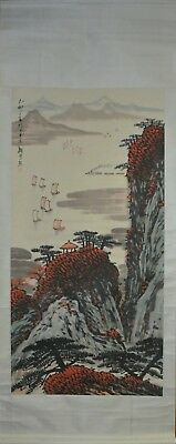 Vintage Chinese Watercolor RIVER BY MOUNTAIN Wall Hanging Scroll Painting