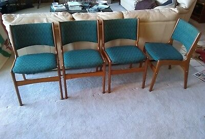 4 Mid Century Modern Danish Teak Dining Room Chairs