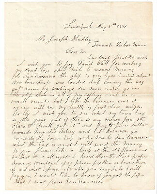 Capt Henry Giles of Tenants Harbor Maine 1881 Liverpool Letter