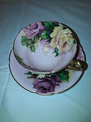 Stanley Fine Bone China Pink Tea Cup and Saucer With Roses Red Pink Yellow