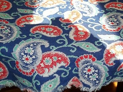 Vintage Large Paisley Print Feed Sack Feedbag Turquoise Red & Blue Flowers #1