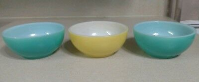 """2 Vintage FIRE KING Oven Ware Turquoise Bowls 5"""" Diameter + Yellow One"""