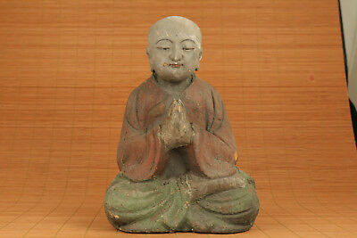 ancient Big Chinese Old wood Handmade Carved buddha monk figure Statue