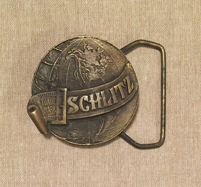 Vintage Brass BELT BUCKLE SCHLITZ BEER Brewing Company Trade Mark Logo Emblem