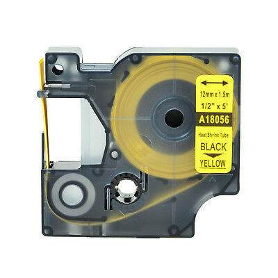 """1 Heat Shrink Tube Label IND Tape Black on Yellow 18056 For Dymo Rhino 1000 1/2"""""""