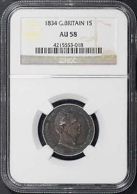 1834 Great Britain Silver Shilling NGC AU-58 -133954