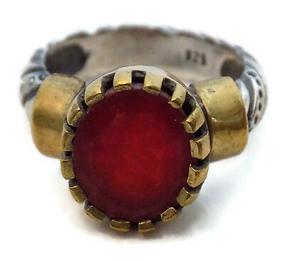 BYZANTINE .925 STERLING SILVER & GOLD RING STYLE #3 with PRECIOUS RUBY RED STONE