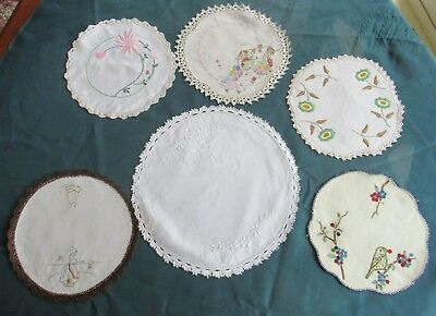 Lot 6 vintage HAND-EMBROIDERED DOILIES most crochet edges 1 with Bird embroidery