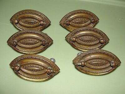 Lot of 6 antique pressed brass drawer pulls marked 1711