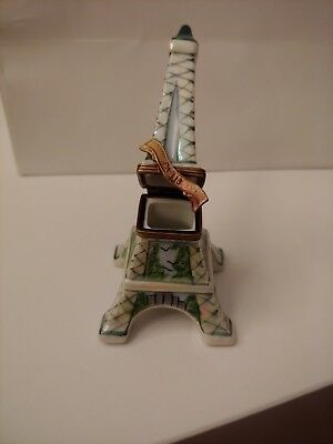 Rochard  Limoges Original Peint Main Eiffel Tower Trinket Box
