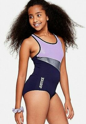 Justice Shimmer Colorblock Leotard Night Sky Lilac Scrunchie NEW NWT 6 7 8 10 12