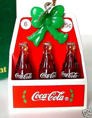 "COCA COLA 6 Pack Bottles Carton ORNAMENT Diner 2.5"" Miniature Willitts Coke 1991"