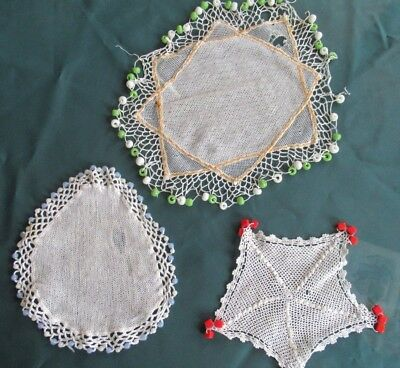 3 MILK JUG COVERS Imperfect but lots of glass beads, vintage cotton doilies