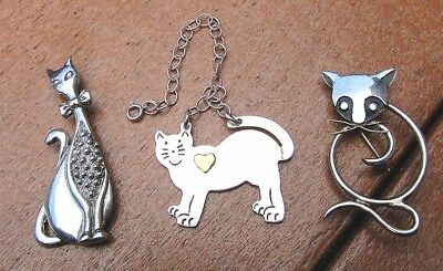 Lot 3 Pcs Sterling Silver Cat Jewelry; All Signed, All Made in Mexico -- TW=31g