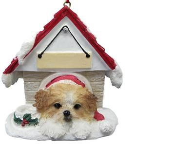SHIH TZU, TAN / WHITE PUPPY in Dog House Ornament w/ Magnet - PERSONALIZED FREE