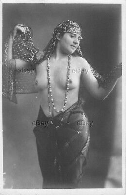 Rppc Postcard Vintage Photo Nude Ethnic Woman Belly Dancer Gypsy Middle Eastern